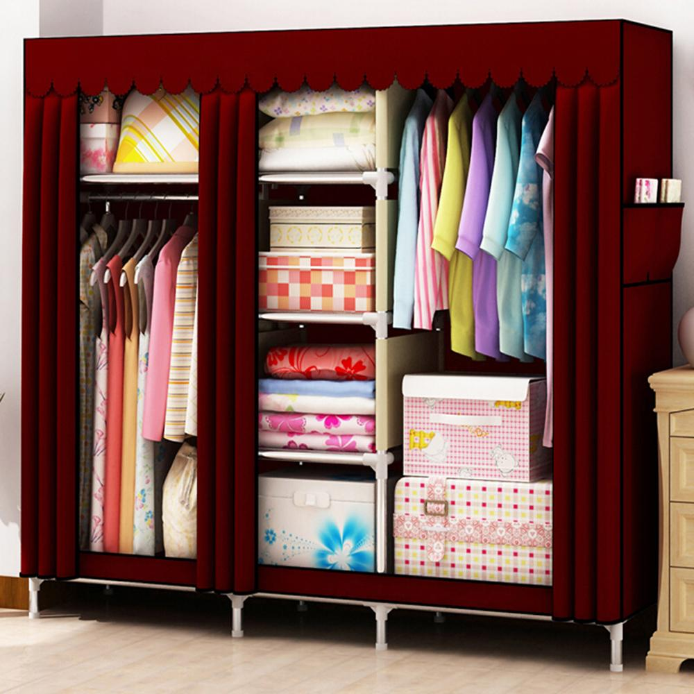uper Large Bold Family Wardrobe Portable Stainless Steel Sturdy font b Closet b font Reinforced Freestanding