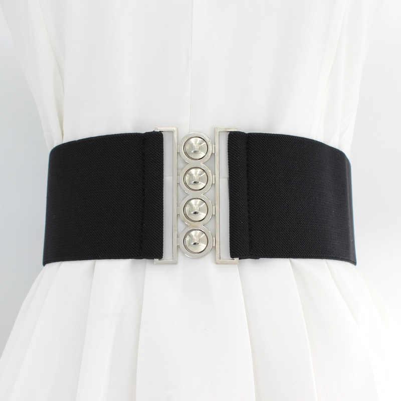 Moda kadın Retro genişlik kemer için Metal elastik kemer streç toka kadın elbise aksesuarları kızlar kemer bel mühür