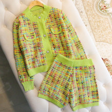 2021 Long Sleeve Plaid Knitted Cardigan Coat Outwear and Shorts Pants Outfits Suit Fluorescent color Knitted Fleece Suit Sets