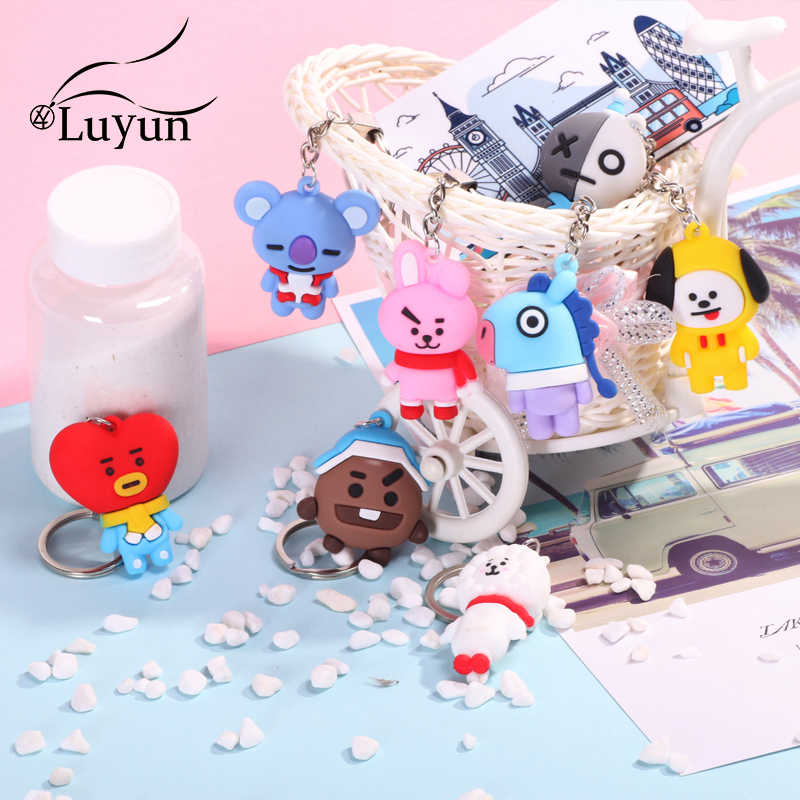 Luyun Bangtan Boys Cartoon Keychain New Winter Series PVC Small Pendant Original Keychains Key Chain On The Bag