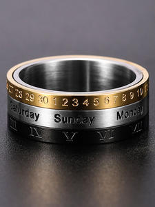 Date-Calendar Rings Numerals Biker-Wedding Finger Rotatable Stainless-Steel Gold Roman