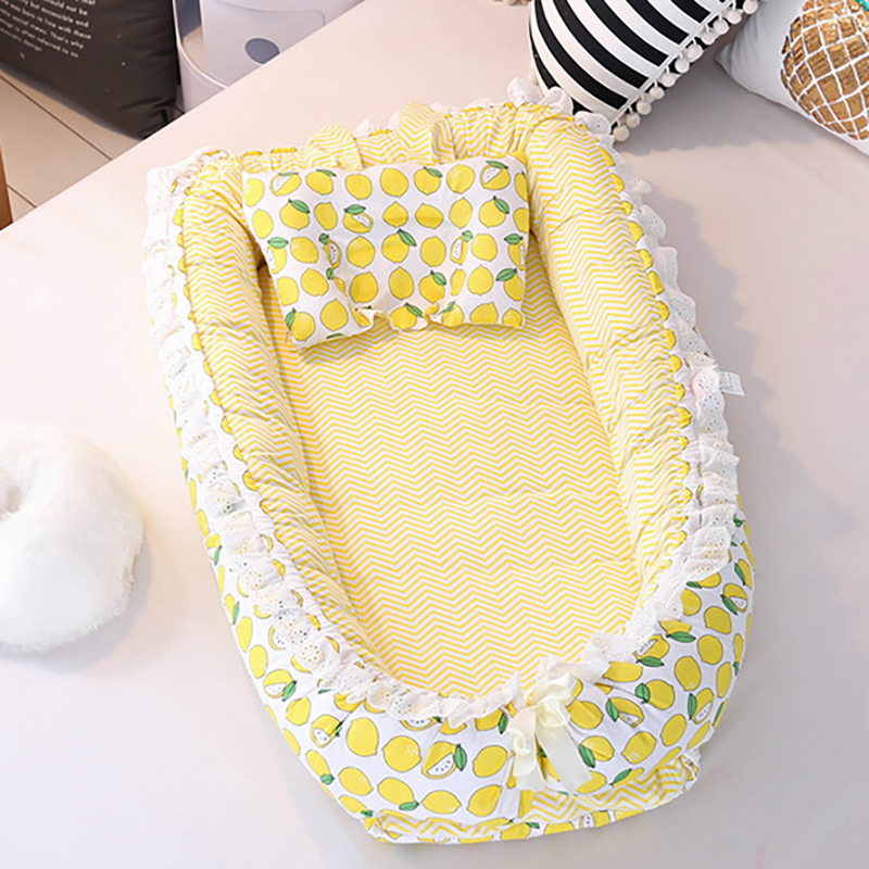 Baby Sleeping Basket Cotton Portable Crib Newborn Infant Cot Bed Travel With Pillow Sleeping Cot  YHM007