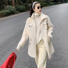 Coat Jacket Mink-Fur Women's Winter Stylish Outwear Waist Thick Mid-Length C-174 Drawstring