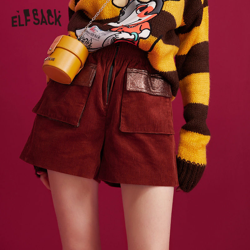 ELFSACK Camel Solid Leather Patchwork Pocket Women Shorts 2019 Winter Corduroy Pure Natural Waist Office Ladies Casual Bottoms