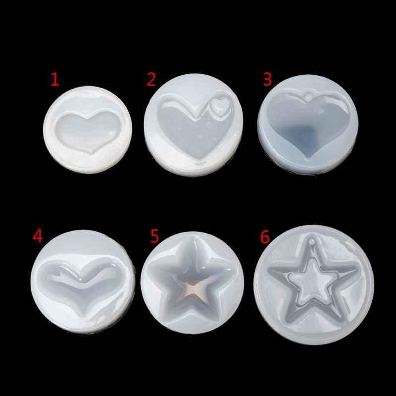 לב כוכב תכשיטי צורת עובש סיליקון אפוקסי שרף ליהוק תליון קריסטל תבניות W2952001