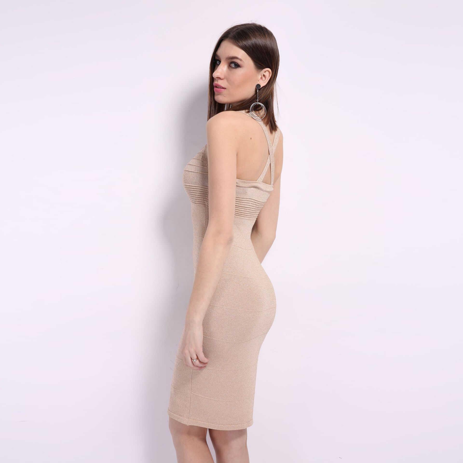Lilacolor Gebreide Cross Backless Sexy Vrouwen Slanke Jurk Voor De Zomer