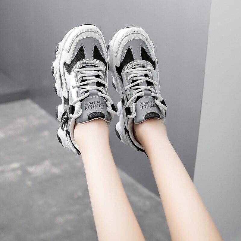 На резиновой подошве в повседневном стиле; Женские модные туфли на танкетке обувь на платформе с подошвой из вулканизированной женская брендовая роскошная дизайнерская обувь для женщин светоотражающие спортивная обувь