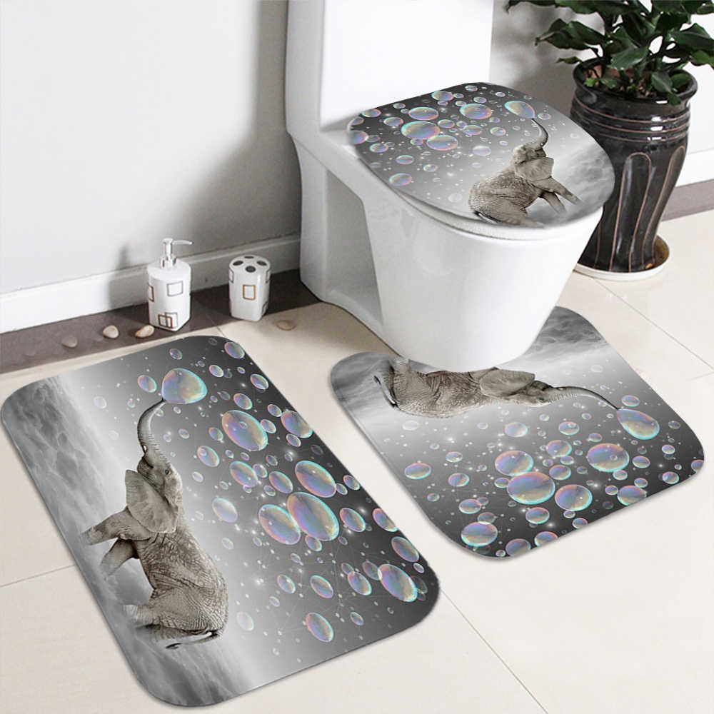 Elephant Bathroom Sets Ocean Dolphin Deep Sea 6D Shower Curtain with 6  Hooks Pedestal Rug Lid Toilet Cover Bath Mat Set