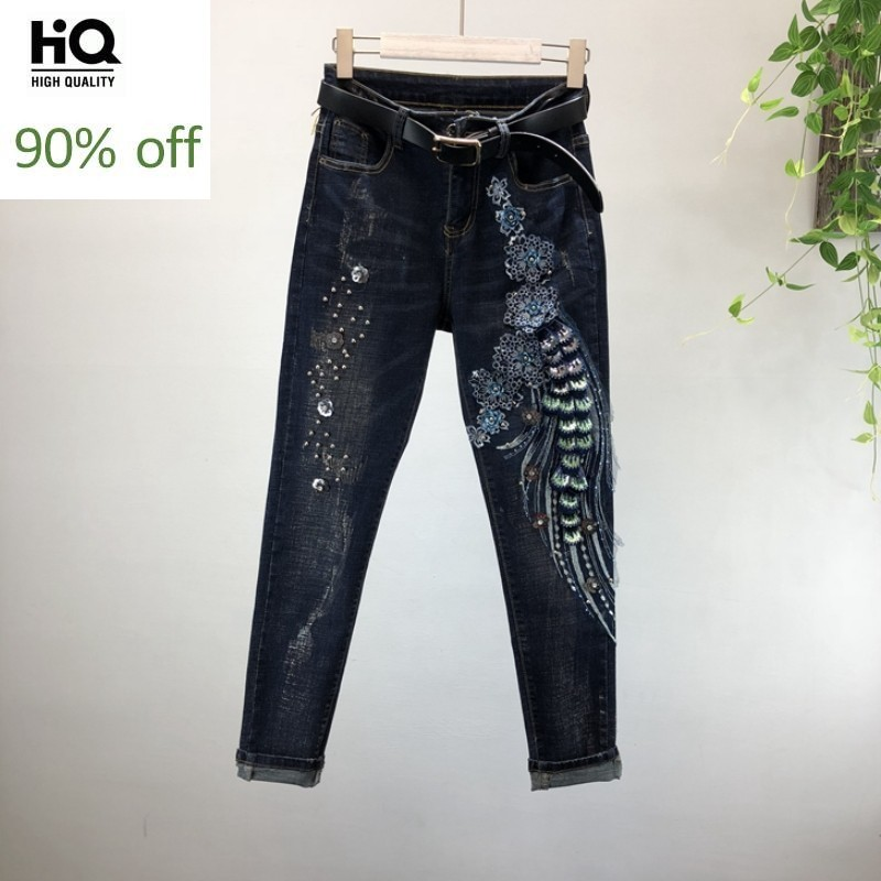 Brand Beading Sequined Hole Ripped Stretch Denim Pencil Pants Women European Style Slim High Quality Zipper Torn Jeans Trousers