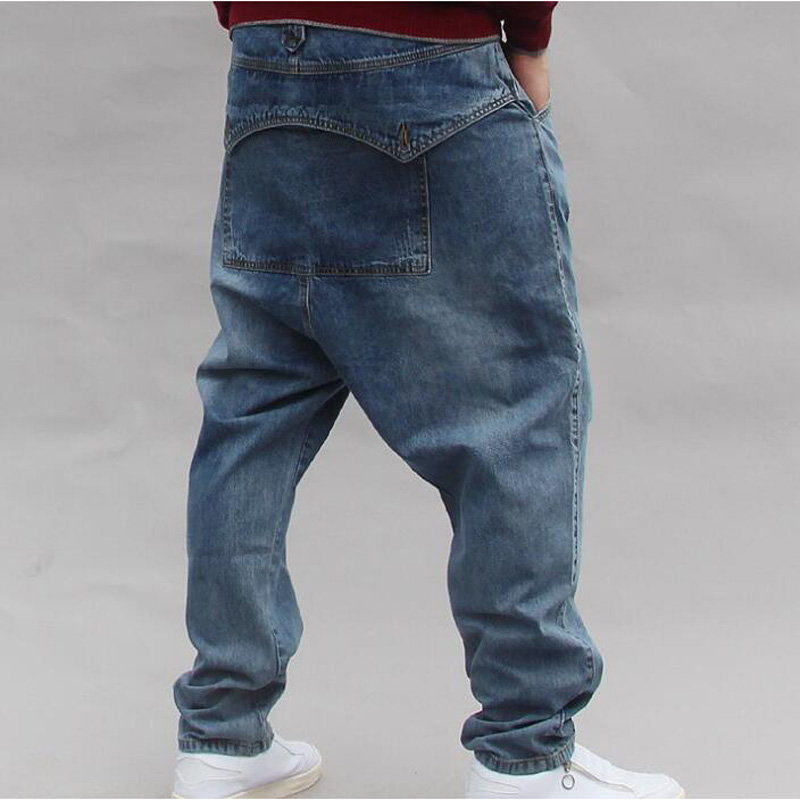 New Hip Hop Baggy Jeans Mens Denim Hip Hop Loose Pants Rap Jeans For Boy Rapper Fashion Plus Size Denim Jeans Men