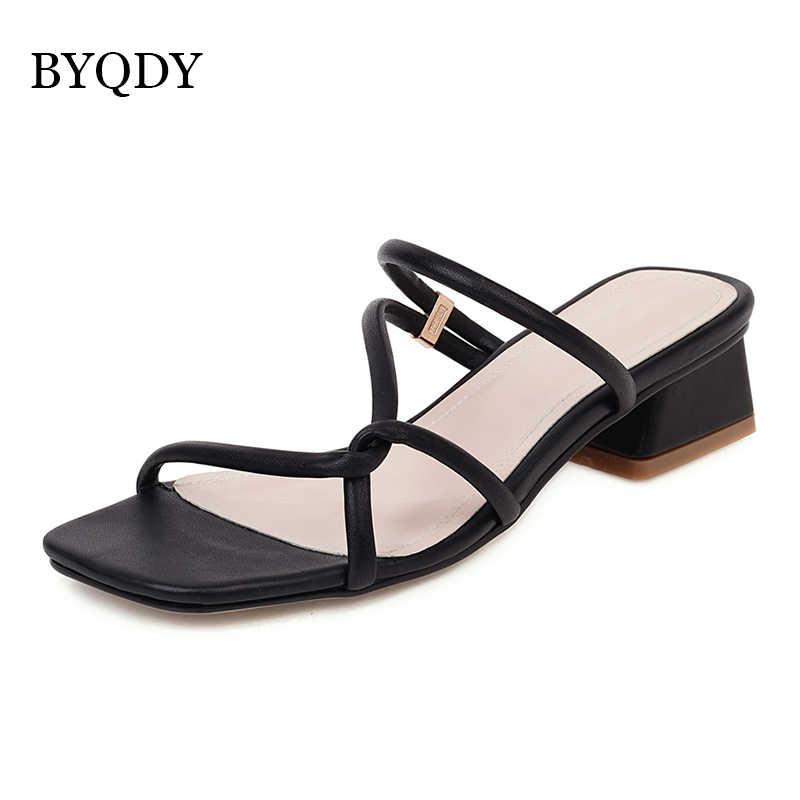 BYQDY/женские летние сандалии в стиле бохо; Босоножки на среднем каблуке без застежки с открытым носком; Повседневная Уличная обувь; Женские босоножки с узкими ремешками; Размер 43; 2020