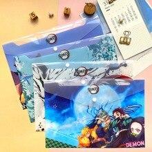 1 шт. Демон Slayer аниме A4 файл сумка папка Kimetsu No Yaiba Kamado Tanjirou PVC Paper Document Bag School Office File Storage Bag