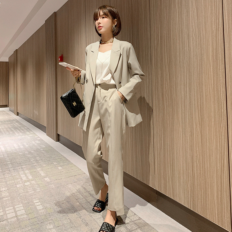 Plus size women's L-5XL professional pants suit two-piece New high-quality female office jacket for autumn and winter Slim pants