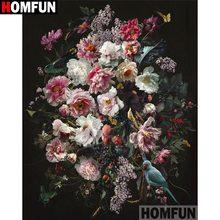 HOMFUN-Pintura de diamantes redondos/cuadrados 5D, cuadro artesanal completo,