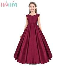 Iiniim Teen ילדים Vestidos פעוט ילדה שמלות פרע טוס נסתרת בצורת V חזור פרח בנות שמלת נסיכת מסיבת חתונה שמלה
