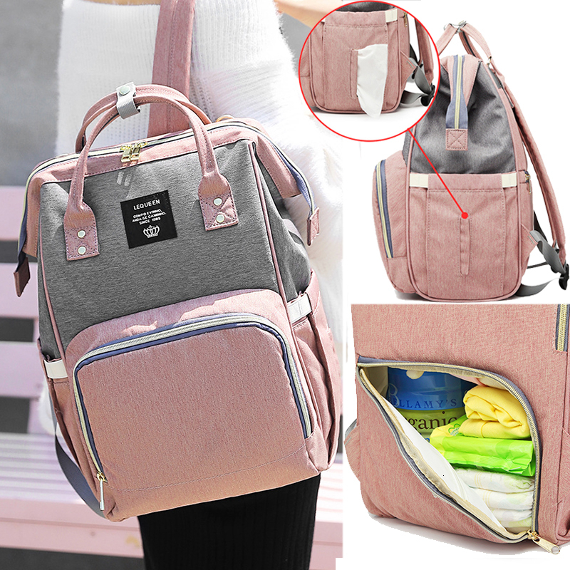 Simple Mammy Bag Diaper Bag Daily Commuting Backpack Maternity Large Nappy Printed Bag Babies Bag Travel Picnic Baby Care Wetbag