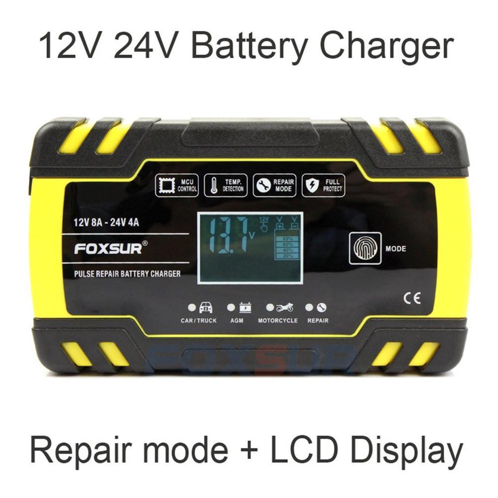 Chargeur de batterie de réparation d'impulsion de moto de voiture 12V 8A 24V 4A avec l'affichage d'affichage à cristaux liquides chargeur de batterie au plomb humide d'agm Gel