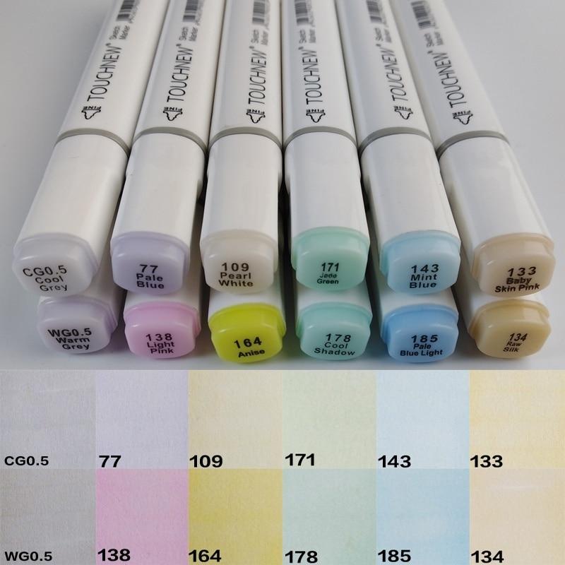 TouchNew набор пастельных цветов для портретной иллюстрации, художественные маркеры с двойной головкой, маркер на спиртовой основе, 12 цветов