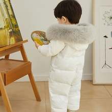 Russian Winter Infant Baby Snowsuit Real Fox Fur Collar Kids Boys Girls Rompers White Duck Down Filling Thick Warm Down Coat
