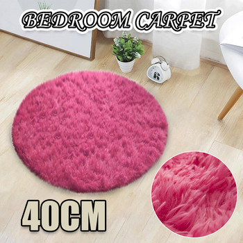 2020 Fluffy Round Alfombra for Living Room Faux Fur Carpet Kids Bedroom Plush Shaggy Computer Chair Upholstery Area Rug mats image