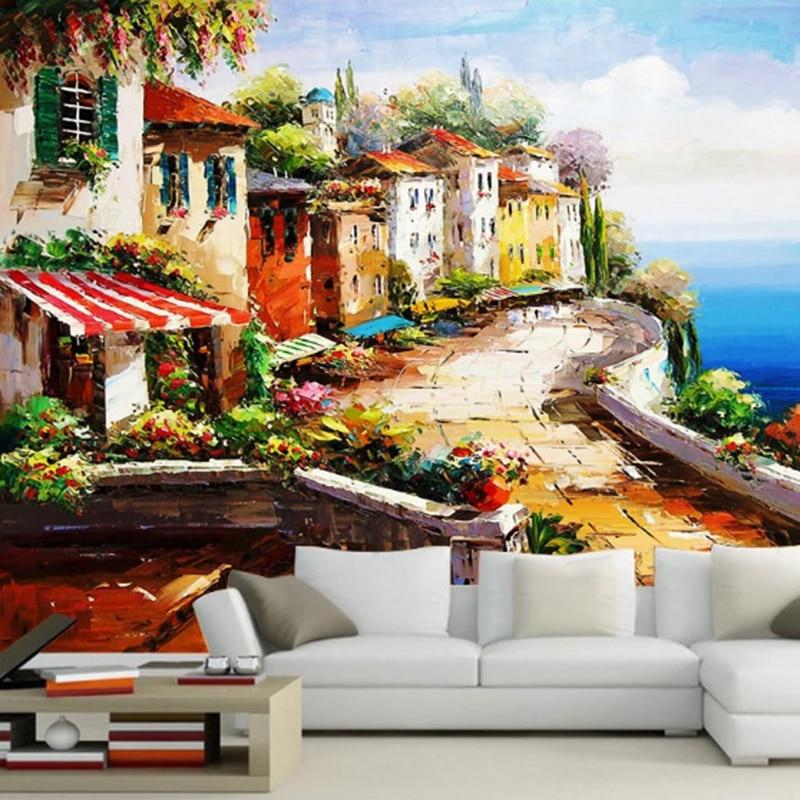 Mediterranean Garden Photo Mural Wallpaper Modern Cafe Restaurant Bedroom Backdrop Wall Home Decor 3D Landscape Wallpaper Murals