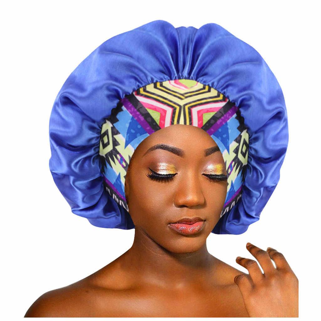 Women African Pattern Satin Bonnet Salon Make Up Beanie Sleep Hat Turban Wrap