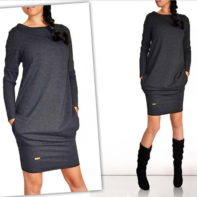Female Autumn Long Sleeve Dress With Pockets Casual O-Neck Pure Color Clothing 2020 Fashion Gray Black Knee-length Dresses  2XL 1
