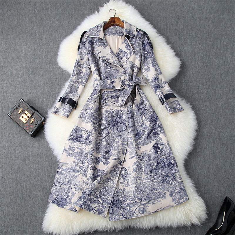 2019 Autumn Winter Chinese Style Women   Trench   Elegant Turn Down Collar Belt Waist Double Breasted Printed Long   Trench   Female