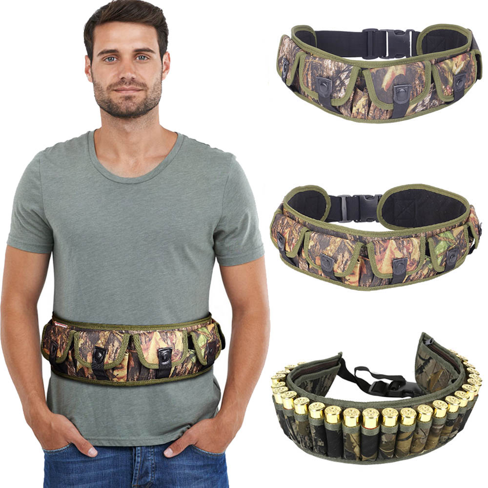 Tactical 15/25/28 Rounds Ammo Shell Holder Belt 12/20 Gauge Ammo Pouch Shot Gun Shell Bandolier Waist Bullet Cartridges Holster