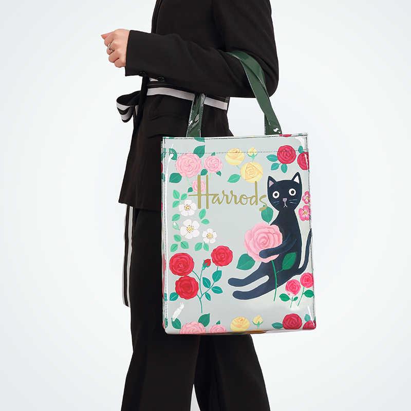Eco Freundliche Blume Tote Einkaufstasche Reusable Wasserdichte PVC Schulter Tasche London Stil Handtasche Für Frauen Mittagessen Shopper Tasche