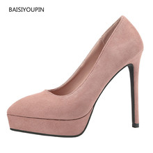 Four Seasons Pumps Women Shoes Pointed-toe Fashion New Flock 13cm High Heels Party Office Ladies Shallow Sexy Club Female Shoes 2017 brand new european vintage pumps shoes for woman ds162 flock square toe straps sexy female ladies pumps shoes