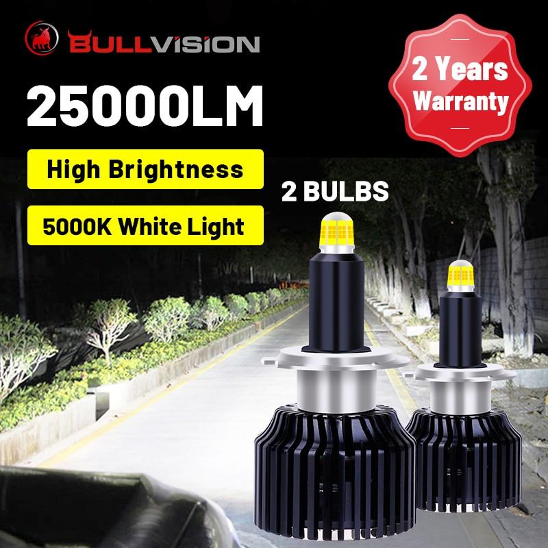 BULLVISION H7 светодиодный фары 25000LM 360 градусов 9012 HIR2 H1 H11 H8 H9 9005 9006 HB3 HB4 светодиоды с чипом CSP 5000K белый Цвет авто фары