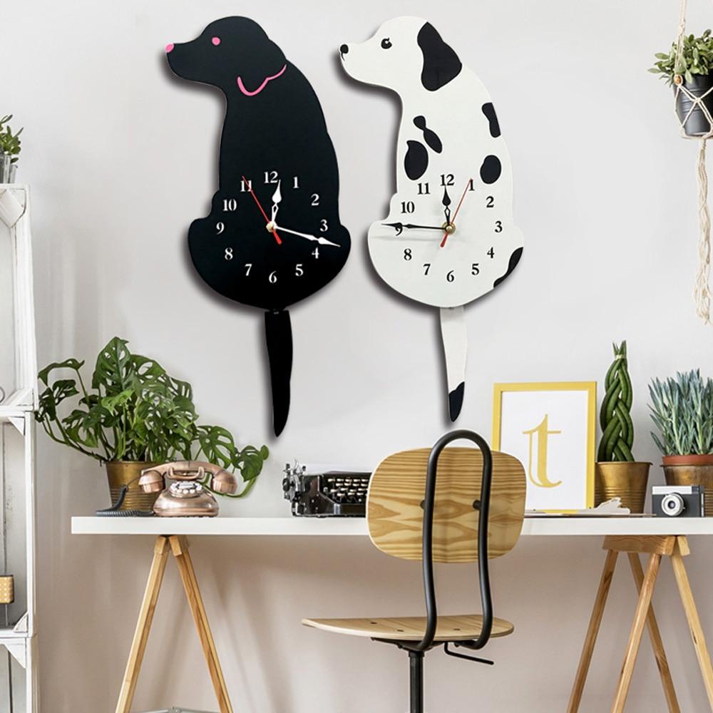 M.Sparklig New Arrival White/Black Wagging Tail Dog Wall Clock Kitchen Reloj De Pared Decoration Unique Gift Creative Horloge