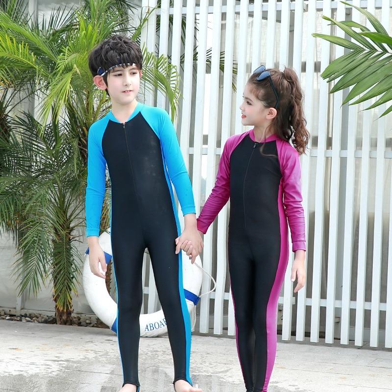 Children One-piece Diving Suit BOY'S Girls Long Sleeve Trousers Sun-resistant Swimsuit Big Boy Multi-color Multi-Code