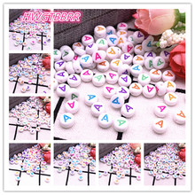 NEW 100pcs/lot 7x4mm A-Z Colourful Round Alphabet Letter Acrylic Loose Spacer Beads for Jewelry Making DIY Bracelet Accessories