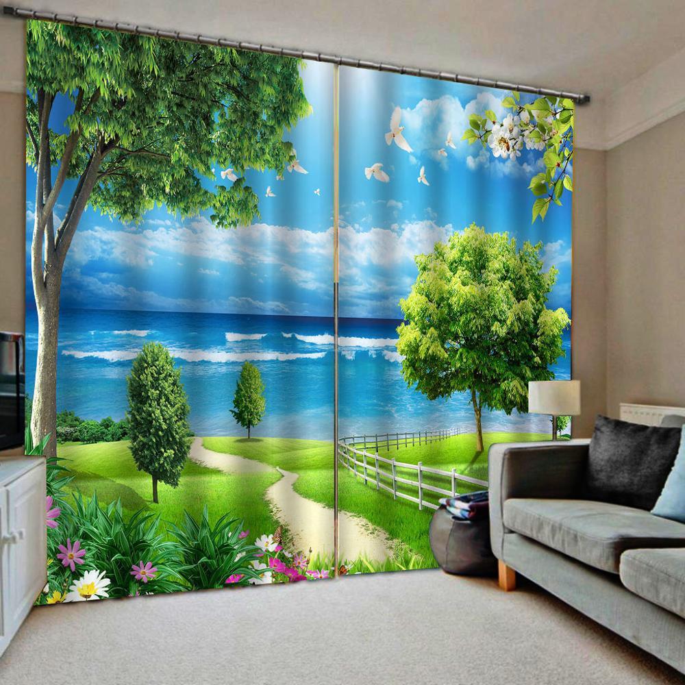 Blue sky curtains green grass curtain 3D Curtain Luxury Blackout Window Curtain Living Room   Decoration curtains