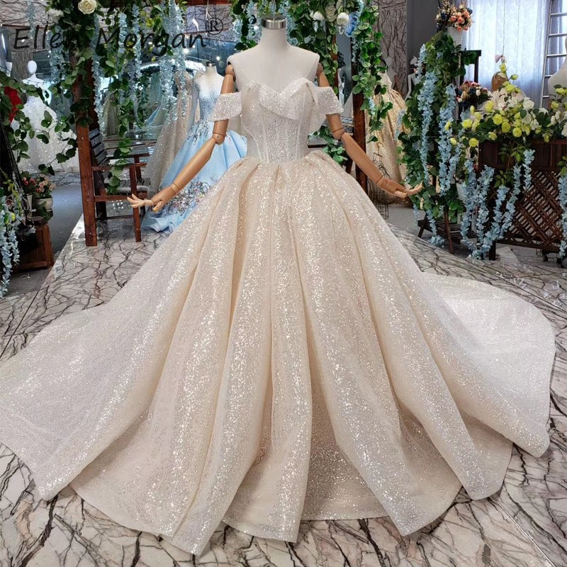 Saudi Arabic Luxury Wedding Dress Princess Ball Gowns Girls 2019 Sexy Off Shuolder Sequins Lace up Court Train Bridal Gowns