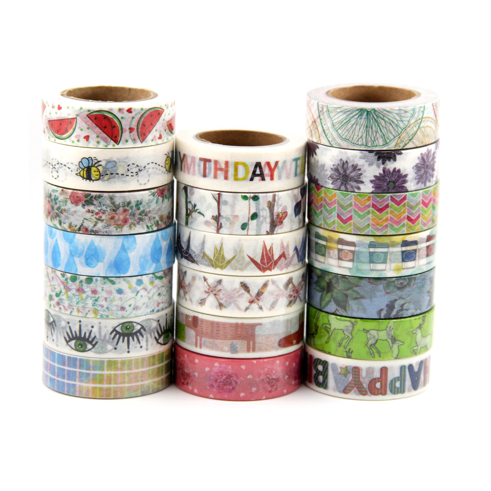 Купить с кэшбэком On sale Randomly Mix 30 rolls washi tape set petal Animal Flower Paper Japanese Washi tape 15mm*10m Top quality