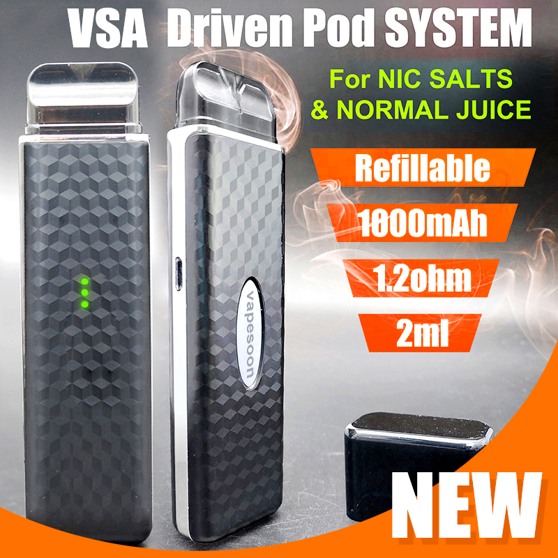 1000mAh Air Driven Pod System VSA Vape Kit For NIC SALTS AND NORMAL JUICE COMPATIBLE Vape Penn 1.2ohm 2ml Electronic Cigarette