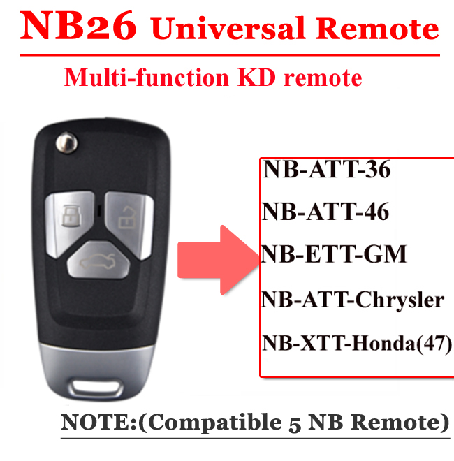 Free Shipping (1 Piece)NB26 Universal Multi-functional Kd Remote 3 Button NB Series Key For KD900 URG200 Remote Master