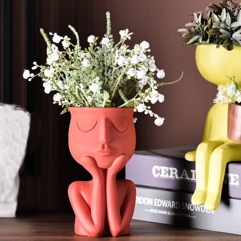 Human Face Resin Flower Pot  Resin Succulents Plant Pot Abstract Flower Pot Desktop Vase Landscape Character Portrait Home Decor