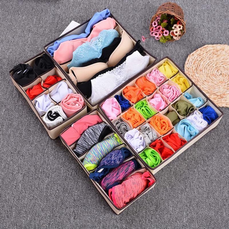 Urijk nueva Multi-tamaño sujetador organizador caja de almacenamiento cajón armario organiza cajas para ropa interior bufandas calcetines Almacenamiento en casa 41x22,6 cm 5 agujeros anillo ranuras de cuerda gancho organizador de bufandas bufanda Wraps chal almacenamiento suspensión anillo gancho para corbatas cinturón Rack