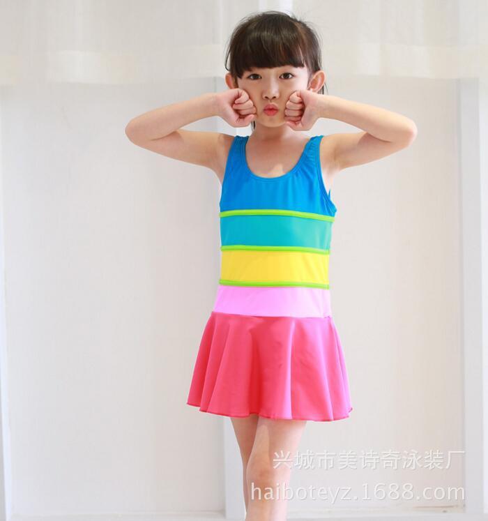 KID'S Swimwear New Style Girls Swimwear One-piece Boxer Rainbow-colored Big Boy Hot Springs Swimwear