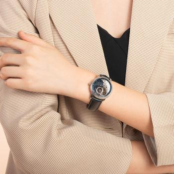Reef Tiger/RT 2021 Luxury Fashion Watch for Women Men Blue Tourbillon Automatic Watch Leather Unisex Watches Clock Reloj RGA1739