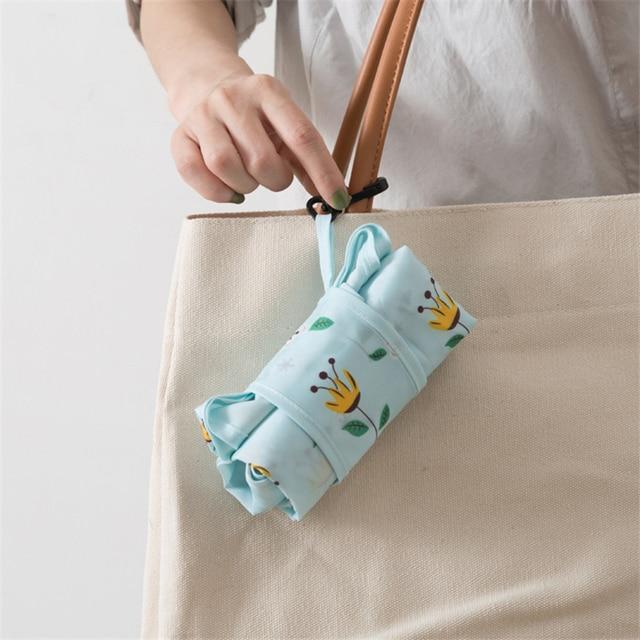 PURDORED 1 Pc Flower Shopping Bag Fordable Women Shopping Tote Bag Portable Waterproof Reusable Cloth Eco Grocery Bag Handbags 5