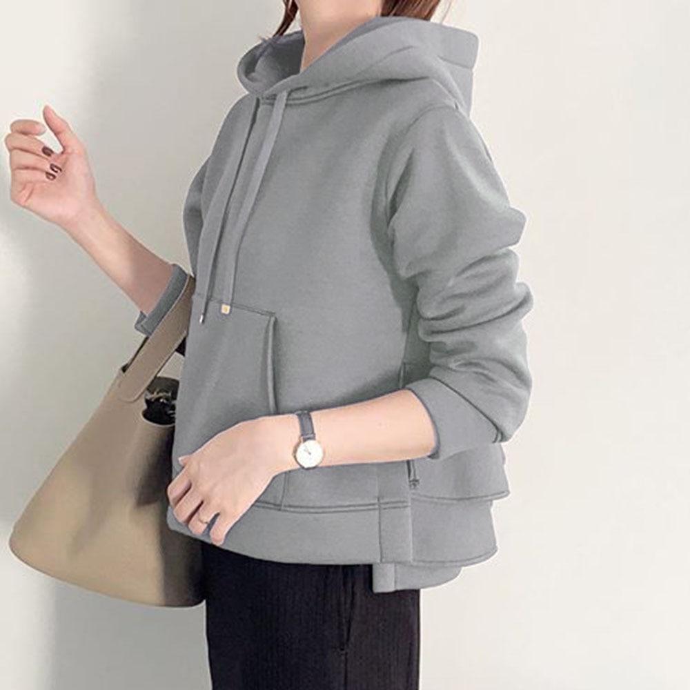 Falbala Hoodies Autumn Winter Causal Sweatshirt Korea Japan Style Solid Gray Pullover Hoodies Women Outwear Asymmetric Short Top