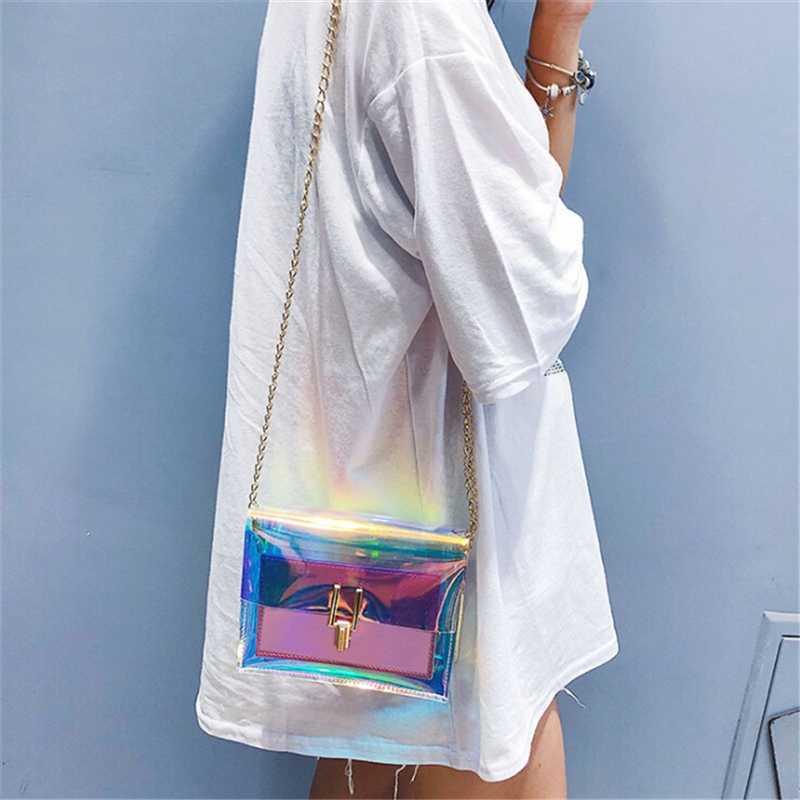 2019 Trend Koreanische Frauen Laser Transparente Beutel Crossbody Schulter Sommer Taschen Messenger PVC Wasserdichte Strand Taschen