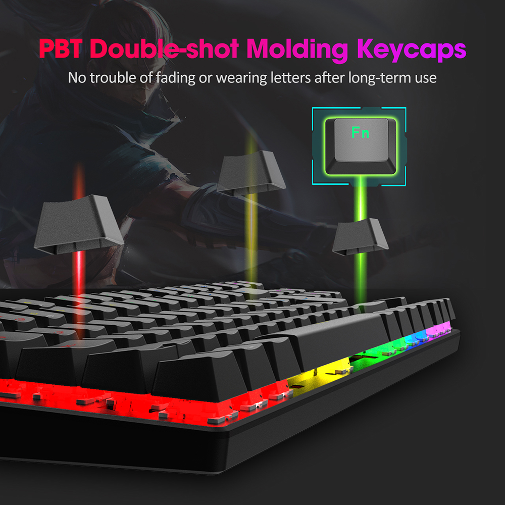 שנאים וספקי כוח PICTEK PC244 Wired Gaming Keyboard מקלדת מכנית RGB LED עם תאורה אחורית USB כחול החלף 87 מפתחות keycaps עבור גיימר PC מחשב (4)