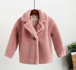 Image 3 - Abrigo de piel sintética para niños de 3 a 12 años, oso de peluche bebé, chaqueta gruesa cálida, abrigo largo para niñas, ropa para niños, prendas de vestir informales