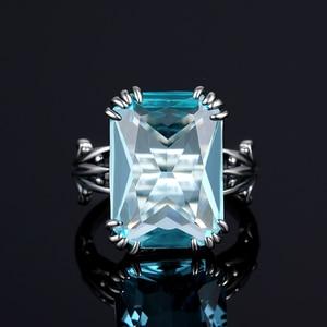 Image 4 - Szjinao Echt 925 Sterling Silber Aquamarin Ringe Für Frauen Sky Blue Topaz Ring Edelsteine Silber 925 Schmuck Weihnachten Geschenk